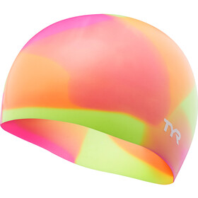 TYR Tie Dye Bonnet de bain en silicone Enfant, yellow/pink/orange